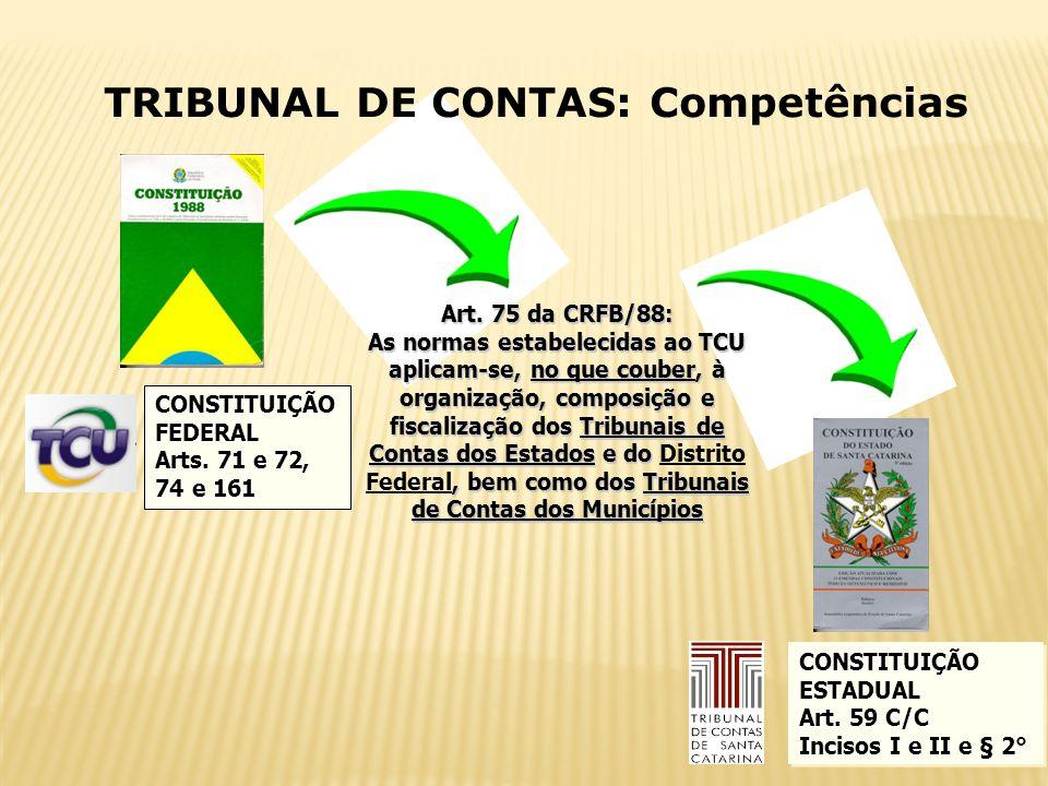 18 TRIBUNAL DE CONTAS: Competências CONSTITUIÇÃOFEDERAL Arts. 71 e 72, 74 e 161 Art. 75 da CRFB/88: As normas estabelecidas ao TCU aplicam-se, no que