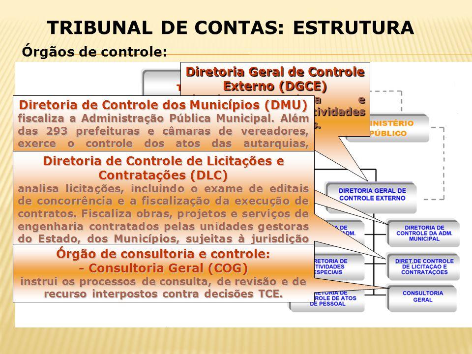 Diretoria Geral de Controle Externo (DGCE) planeja, coordena e supervisiona as atividades das diretorias técnicas. Diretoria de Controle dos Município