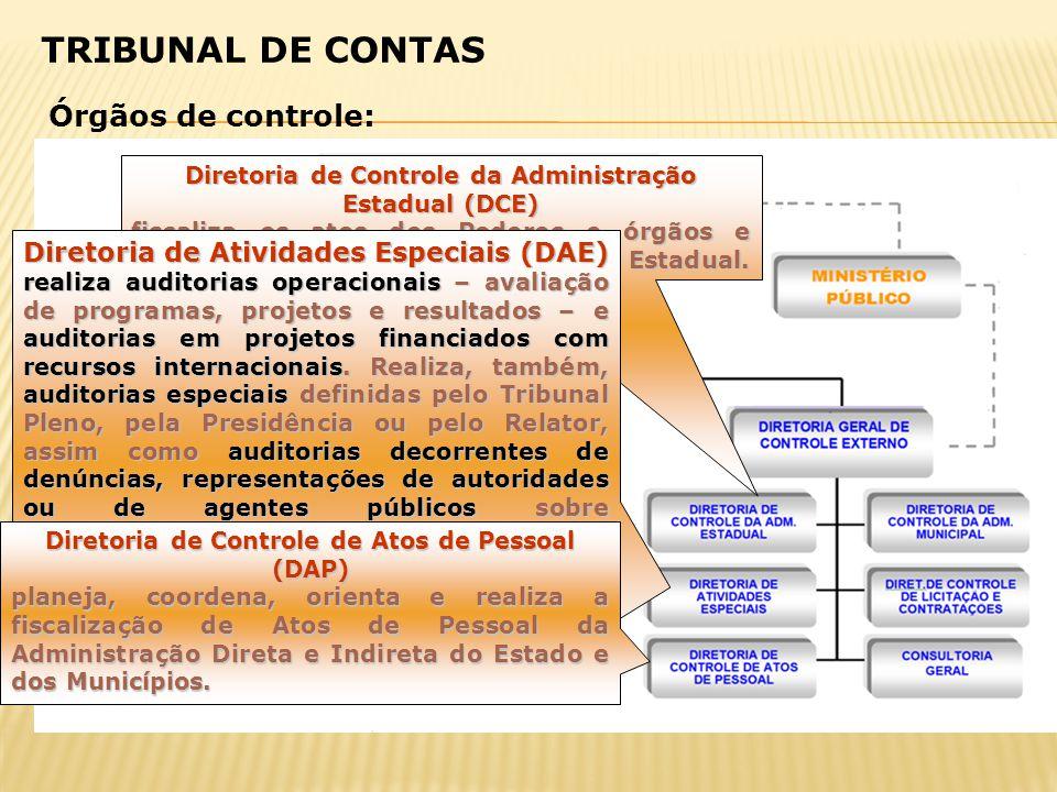 Diretoria de Controle da Administração Estadual (DCE) fiscaliza os atos dos Poderes e órgãos e entidades da Administração Pública Estadual. Diretoria
