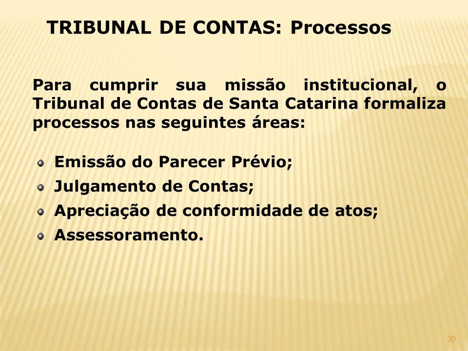 30 TRIBUNAL DE CONTAS: Processos Para cumprir sua missão institucional, o Tribunal de Contas de Santa Catarina formaliza processos nas seguintes áreas