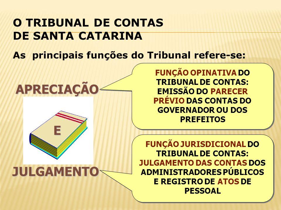 O TRIBUNAL DE CONTAS DE SANTA CATARINA APRECIAÇÃOEJULGAMENTO As principais funções do Tribunal refere-se: FUNÇÃO OPINATIVA DO TRIBUNAL DE CONTAS: EMIS