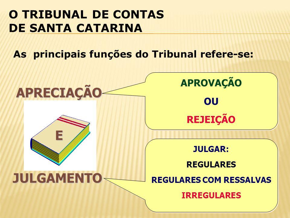 O TRIBUNAL DE CONTAS DE SANTA CATARINA APRECIAÇÃOEJULGAMENTO As principais funções do Tribunal refere-se: APROVAÇÃO OU REJEIÇÃO APROVAÇÃO OU REJEIÇÃO