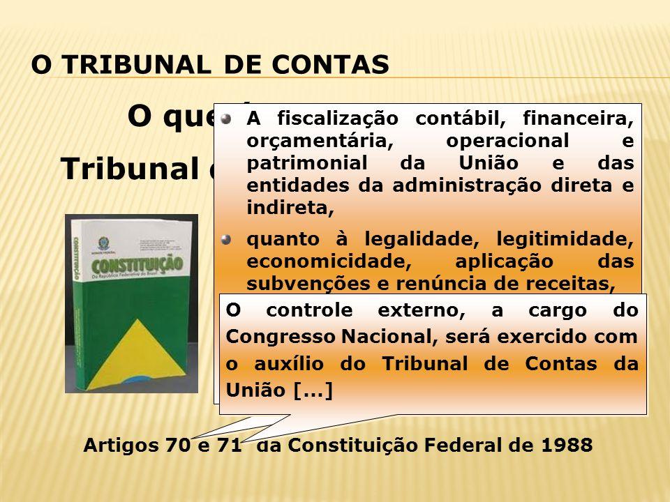 O TRIBUNAL DE CONTAS O que é e para que serve o Tribunal de Contas? Artigos 70 e 71 da Constituição Federal de 1988 A fiscalização contábil, financeir