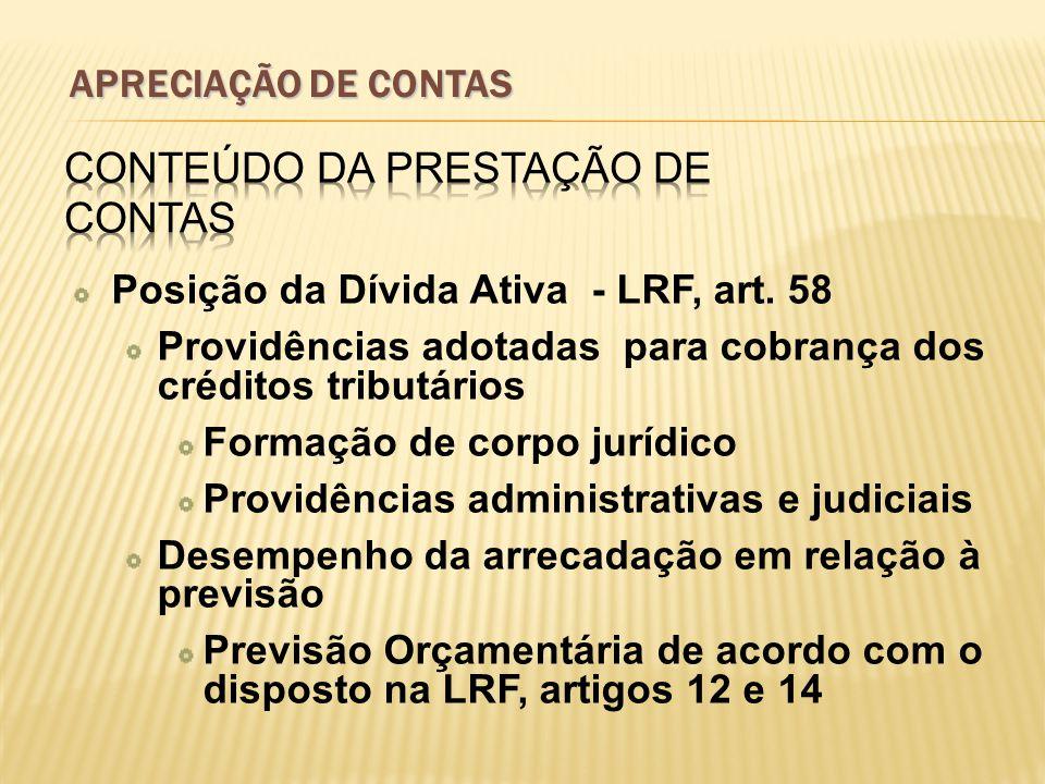 Posição da Dívida Ativa - LRF, art. 58 Providências adotadas para cobrança dos créditos tributários Formação de corpo jurídico Providências administra