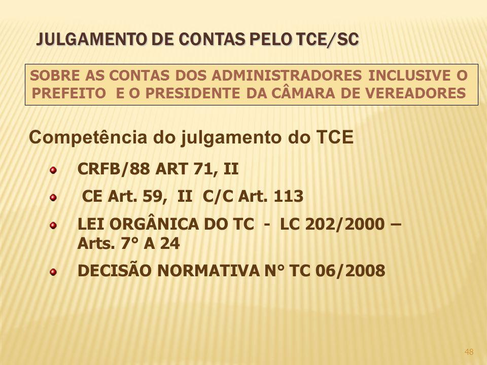 48 CRFB/88 ART 71, II CE Art. 59, II C/C Art. 113 LEI ORGÂNICA DO TC - LC 202/2000 – Arts. 7° A 24 DECISÃO NORMATIVA N° TC 06/2008 SOBRE AS CONTAS DOS