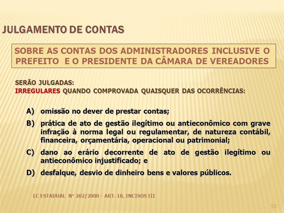 53 A)omissão no dever de prestar contas; B)prática de ato de gestão ilegítimo ou antieconômico com grave infração à norma legal ou regulamentar, de na