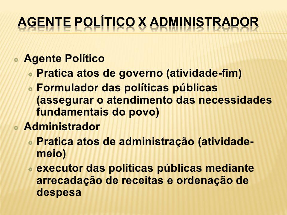 Agente Político Pratica atos de governo (atividade-fim) Formulador das políticas públicas (assegurar o atendimento das necessidades fundamentais do po