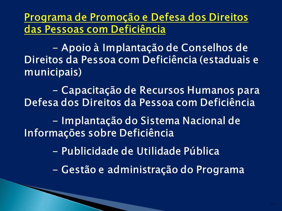 Programa de Promoção e Defesa dos Direitos das Pessoas com Deficiência - Apoio à Implantação de Conselhos de Direitos da Pessoa com Deficiência (estaduais e municipais) - Capacitação de Recursos Humanos para Defesa dos Direitos da Pessoa com Deficiência - Implantação do Sistema Nacional de Informações sobre Deficiência - Publicidade de Utilidade Pública - Gestão e administração do Programa 10