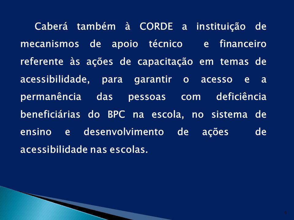 Caberá também à CORDE a instituição de mecanismos de apoio técnico e financeiro referente às ações de capacitação em temas de acessibilidade, para garantir o acesso e a permanência das pessoas com deficiência beneficiárias do BPC na escola, no sistema de ensino e desenvolvimento de ações de acessibilidade nas escolas.
