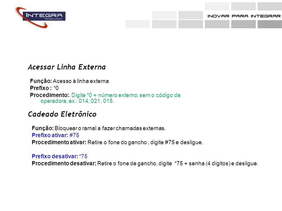 Acessar Linha Externa Função: Acesso à linha externa Prefixo : *0 Procedimento:. Digite *0 + número externo, sem o código da operadora, ex.: 014, 021,