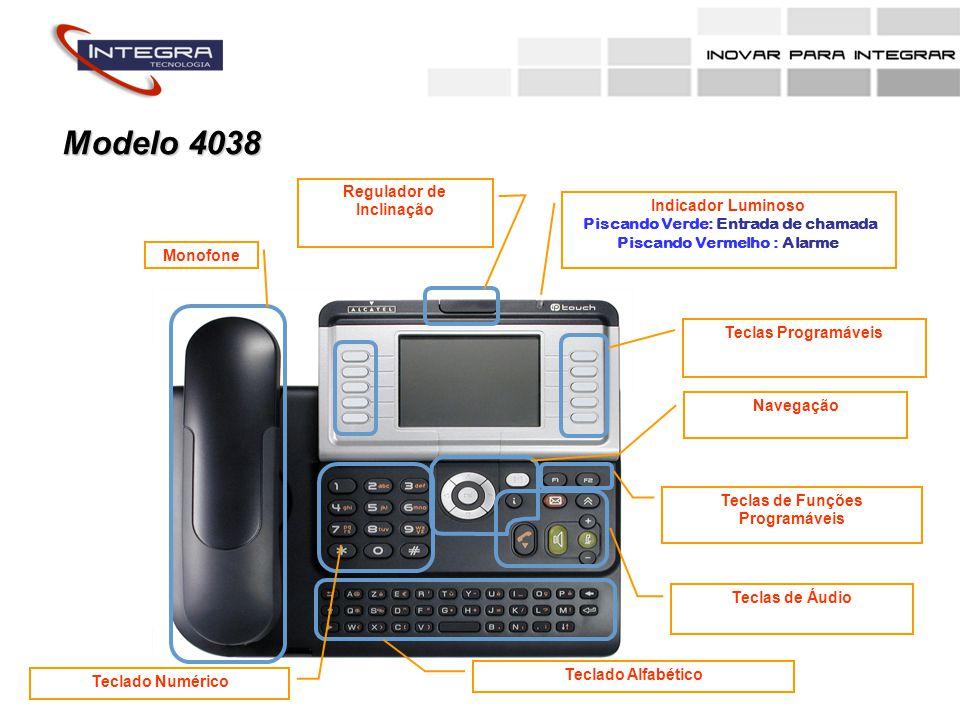 MonofoneRegulador de Inclinação Indicador Luminoso Piscando Verde: Entrada de chamada Piscando Vermelho : Alarme Teclado Alfabético Teclas de Áudio Teclas de Funções Programáveis NavegaçãoTeclas Programáveis Teclado Numérico Modelo 4068