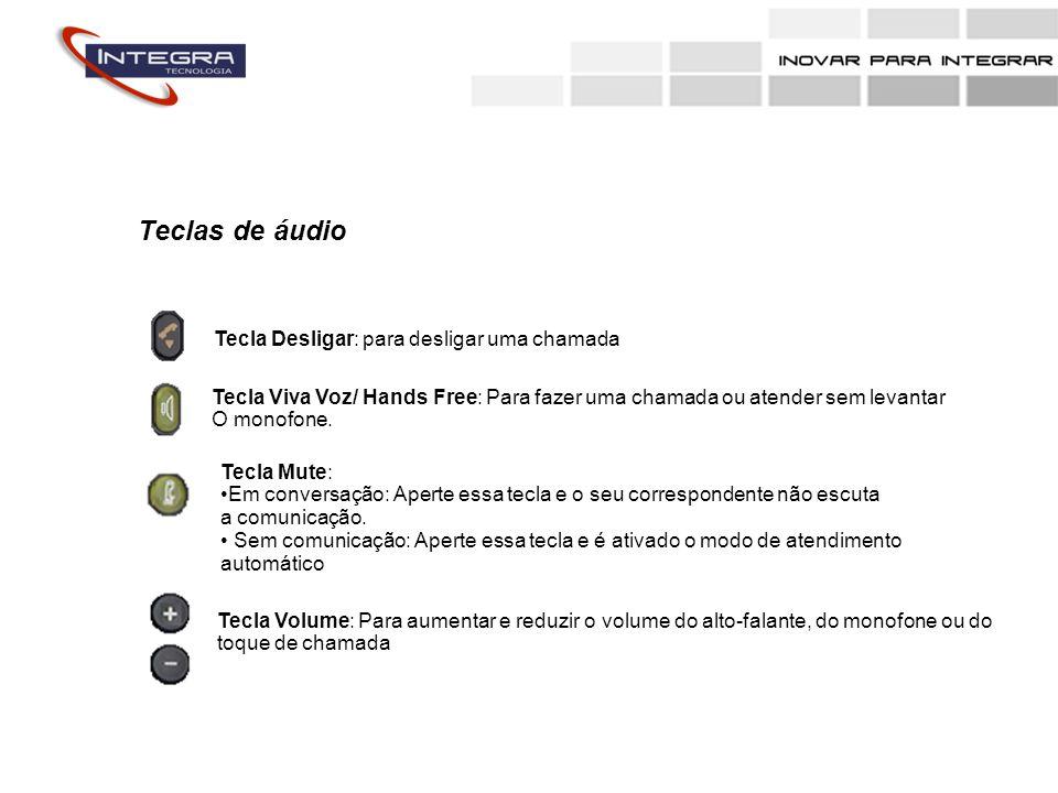 Teclas de áudio Tecla Desligar: para desligar uma chamada Tecla Viva Voz/ Hands Free: Para fazer uma chamada ou atender sem levantar O monofone. Tecla