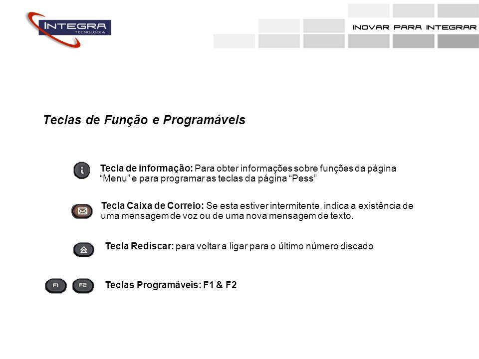 Teclas de Função e Programáveis Tecla de informação: Para obter informações sobre funções da página Menu e para programar as teclas da página Pess Tec