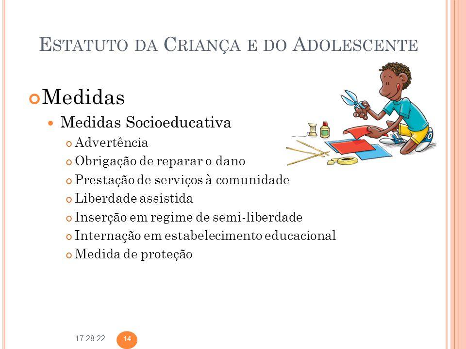 17:28:22 E STATUTO DA C RIANÇA E DO A DOLESCENTE Medidas Medidas Socioeducativa Advertência Obrigação de reparar o dano Prestação de serviços à comuni