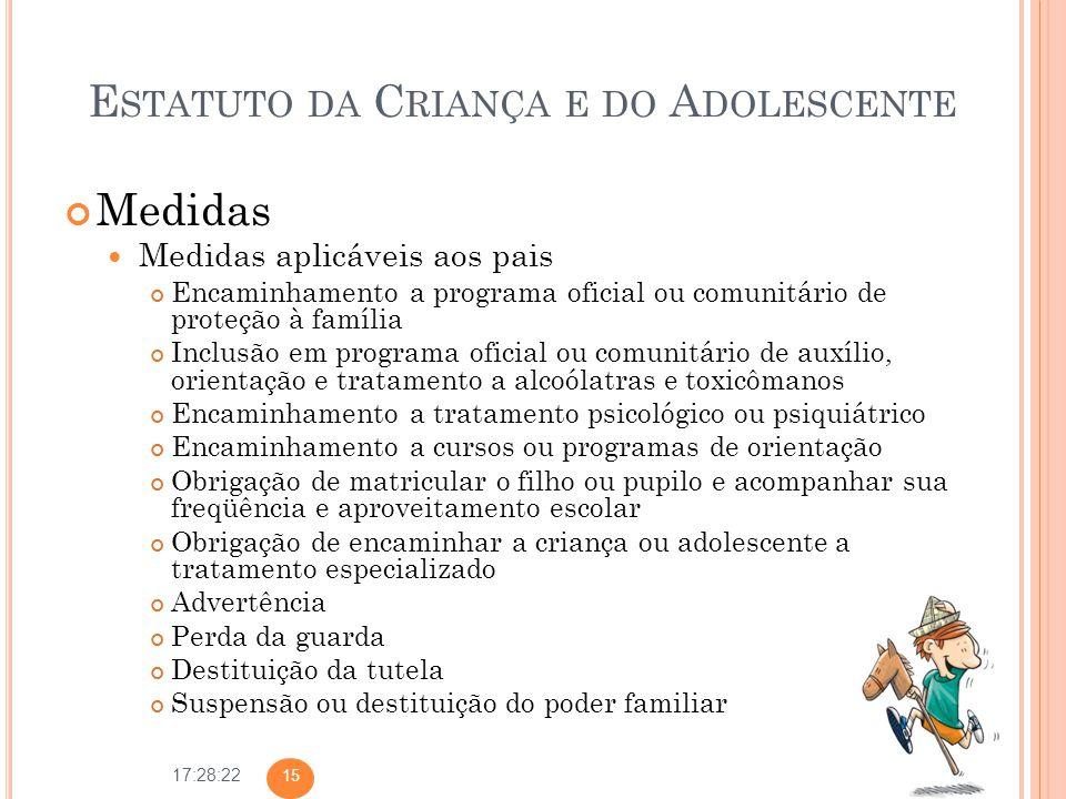 17:28:22 E STATUTO DA C RIANÇA E DO A DOLESCENTE Medidas Medidas aplicáveis aos pais Encaminhamento a programa oficial ou comunitário de proteção à fa