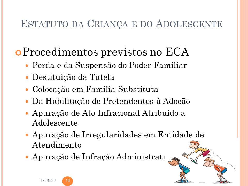 17:28:22 E STATUTO DA C RIANÇA E DO A DOLESCENTE Procedimentos previstos no ECA Perda e da Suspensão do Poder Familiar Destituição da Tutela Colocação