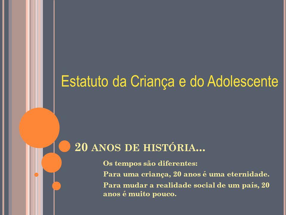 20 ANOS DE HISTÓRIA... Os tempos são diferentes: Para uma criança, 20 anos é uma eternidade. Para mudar a realidade social de um país, 20 anos é muito
