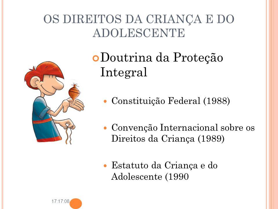 17:17:08 OS DIREITOS DA CRIANÇA E DO ADOLESCENTE Doutrina da Proteção Integral Constituição Federal (1988) Convenção Internacional sobre os Direitos d