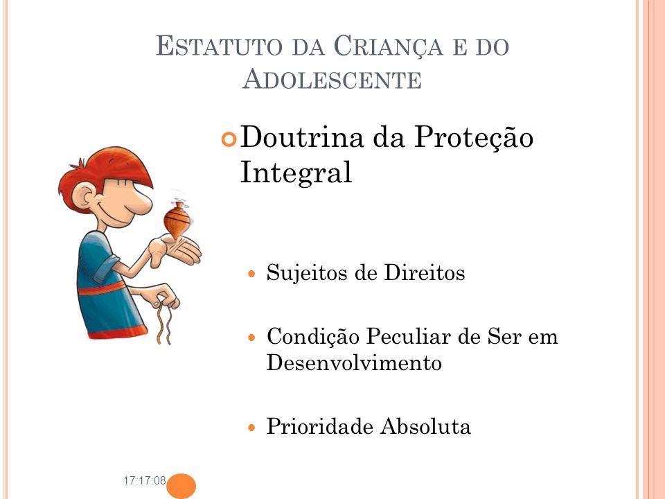 17:17:08 E STATUTO DA C RIANÇA E DO A DOLESCENTE Doutrina da Proteção Integral Sujeitos de Direitos Condição Peculiar de Ser em Desenvolvimento Priori