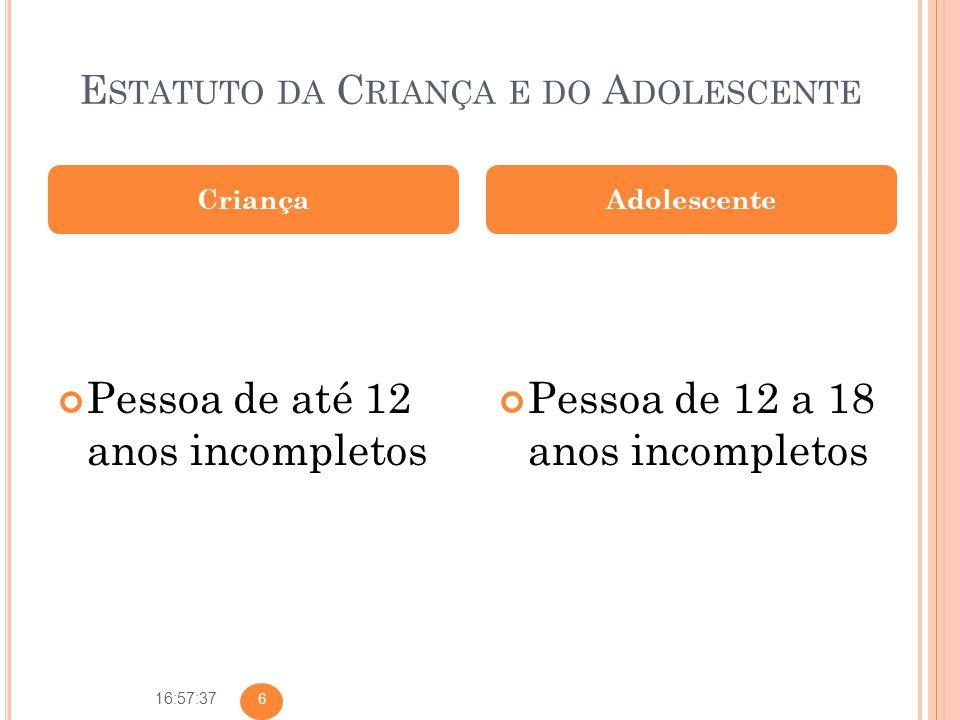 16:57:37 E STATUTO DA C RIANÇA E DO A DOLESCENTE Pessoa de até 12 anos incompletos Pessoa de 12 a 18 anos incompletos CriançaAdolescente 6