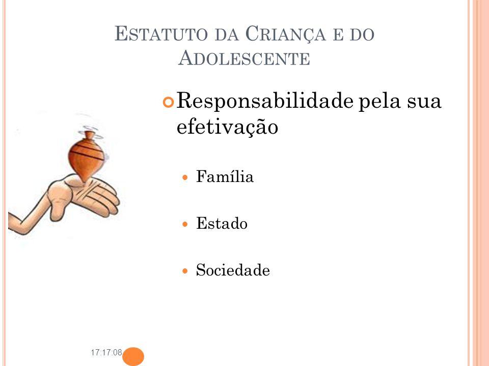 17:17:08 E STATUTO DA C RIANÇA E DO A DOLESCENTE Responsabilidade pela sua efetivação Família Estado Sociedade