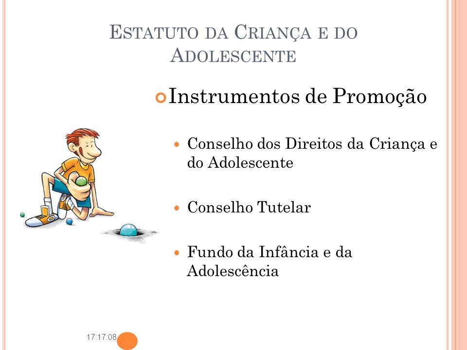 17:17:08 E STATUTO DA C RIANÇA E DO A DOLESCENTE Instrumentos de Promoção Conselho dos Direitos da Criança e do Adolescente Conselho Tutelar Fundo da
