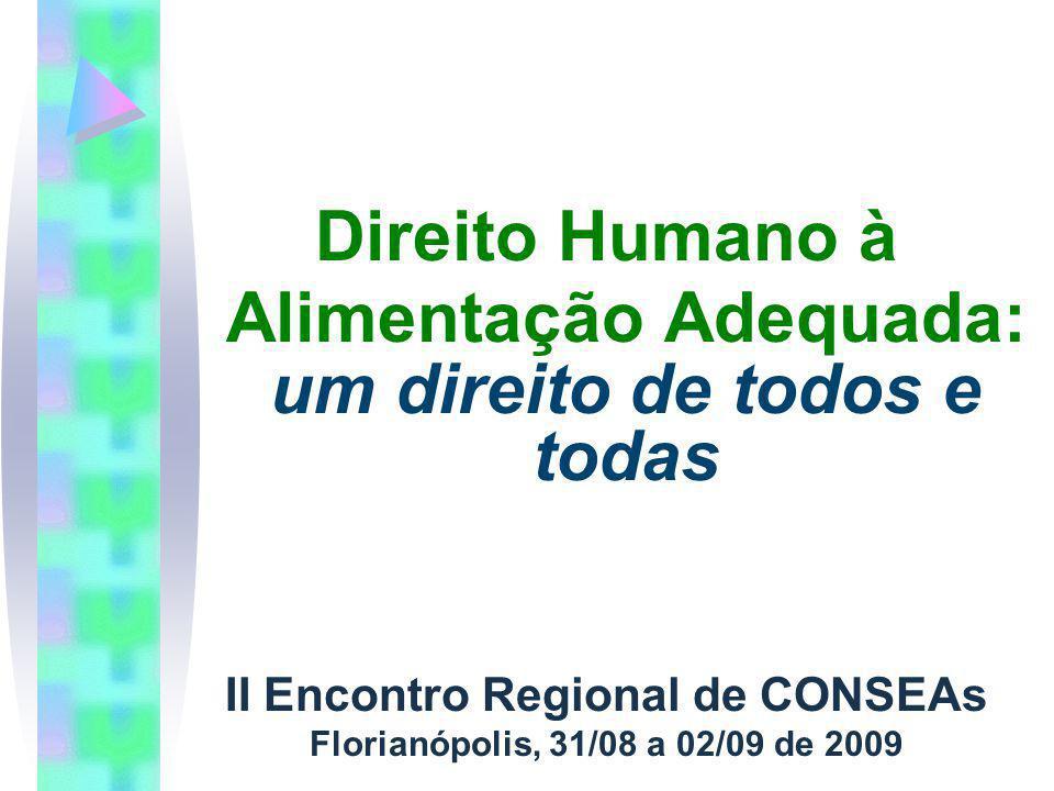 Direito Humano à Alimentação Adequada: um direito de todos e todas II Encontro Regional de CONSEAs Florianópolis, 31/08 a 02/09 de 2009