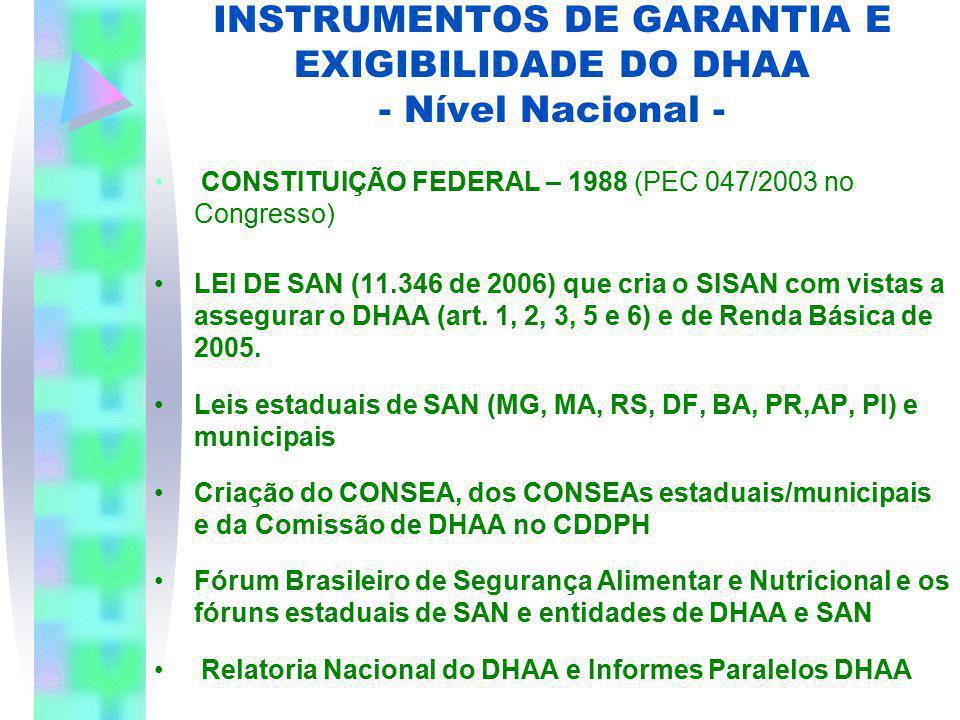 INSTRUMENTOS DE GARANTIA E EXIGIBILIDADE DO DHAA - Nível Nacional - CONSTITUIÇÃO FEDERAL – 1988 (PEC 047/2003 no Congresso) LEI DE SAN (11.346 de 2006