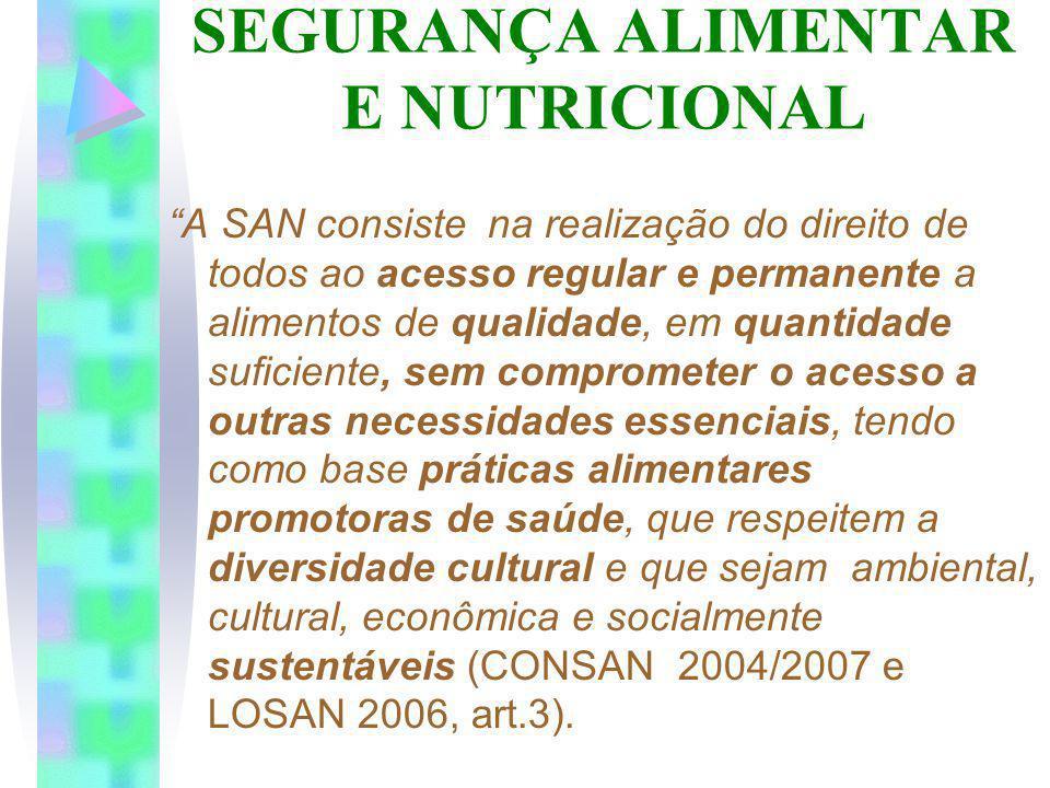 SEGURANÇA ALIMENTAR E NUTRICIONAL A SAN consiste na realização do direito de todos ao acesso regular e permanente a alimentos de qualidade, em quantid