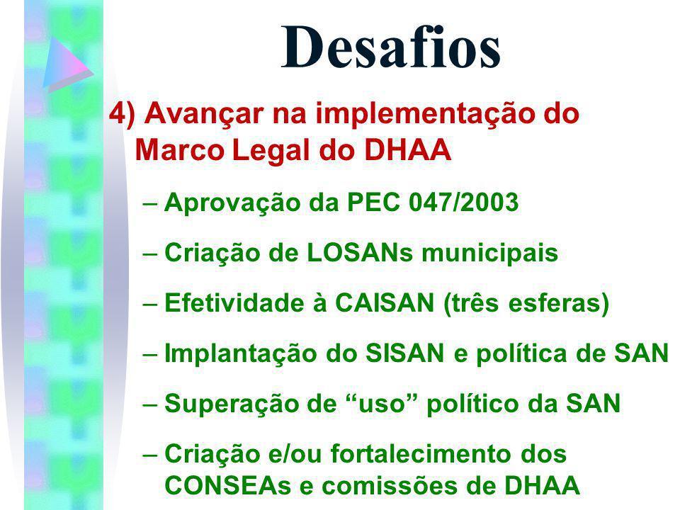 Desafios 4) Avançar na implementação do Marco Legal do DHAA –Aprovação da PEC 047/2003 –Criação de LOSANs municipais –Efetividade à CAISAN (três esfer