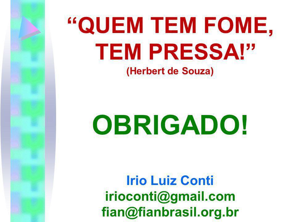QUEM TEM FOME, TEM PRESSA! (Herbert de Souza) OBRIGADO! Irio Luiz Conti irioconti@gmail.com fian@fianbrasil.org.br