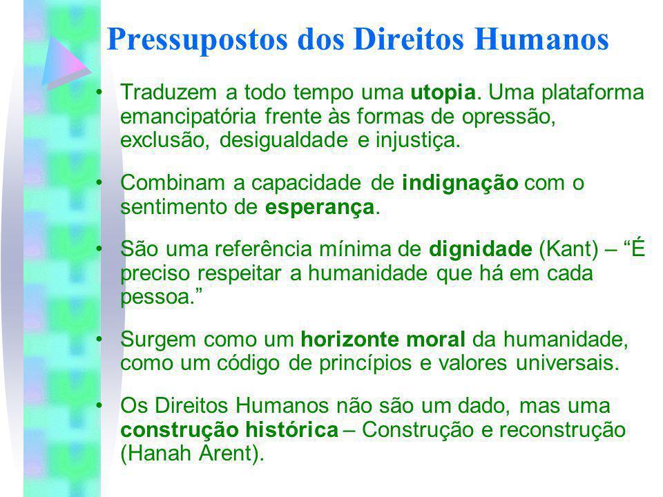 Pressupostos dos Direitos Humanos Traduzem a todo tempo uma utopia. Uma plataforma emancipatória frente às formas de opressão, exclusão, desigualdade