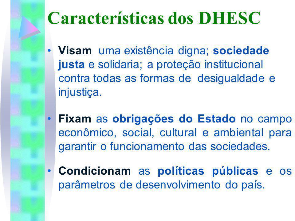 Características dos DHESC Visam uma existência digna; sociedade justa e solidaria; a proteção institucional contra todas as formas de desigualdade e i