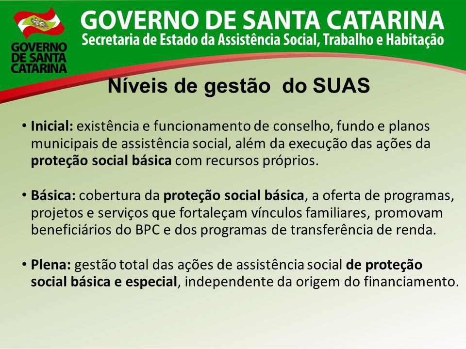 Níveis de gestão do SUAS Inicial: existência e funcionamento de conselho, fundo e planos municipais de assistência social, além da execução das ações