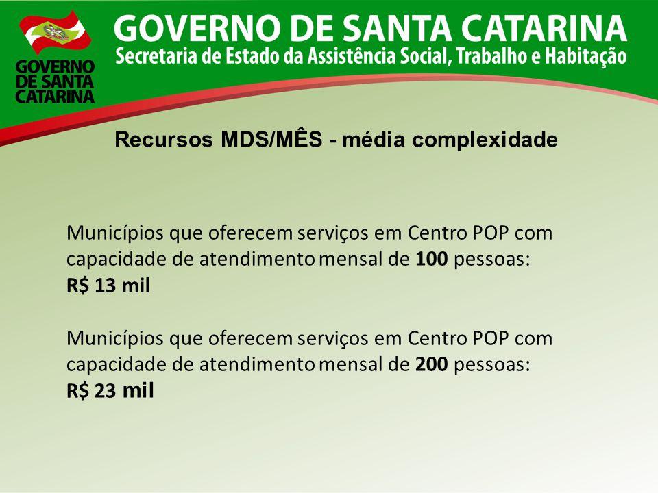 Recursos MDS/MÊS - média complexidade Municípios que oferecem serviços em Centro POP com capacidade de atendimento mensal de 100 pessoas: R$ 13 mil Mu