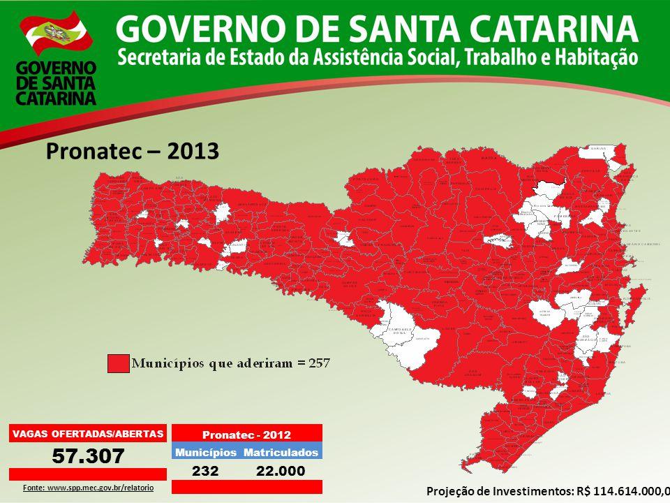 Pronatec – 2013 VAGAS OFERTADAS/ABERTAS 57.307 Fonte: www.spp.mec.gov.br/relatorio Projeção de Investimentos: R$ 114.614.000,00 Pronatec - 2012 Municí
