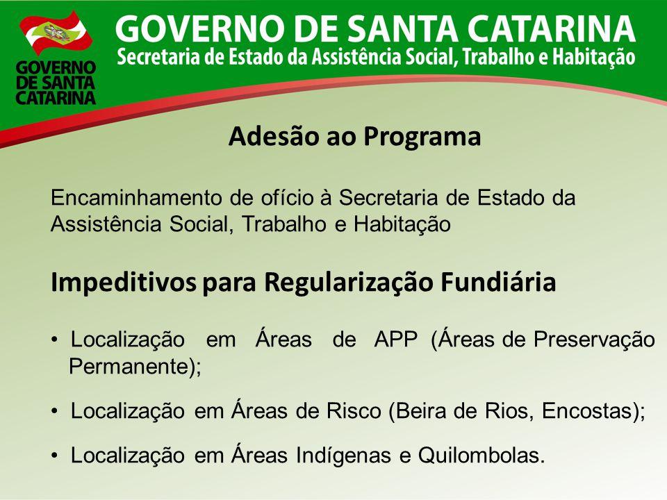 Adesão ao Programa Encaminhamento de ofício à Secretaria de Estado da Assistência Social, Trabalho e Habitação Impeditivos para Regularização Fundiári