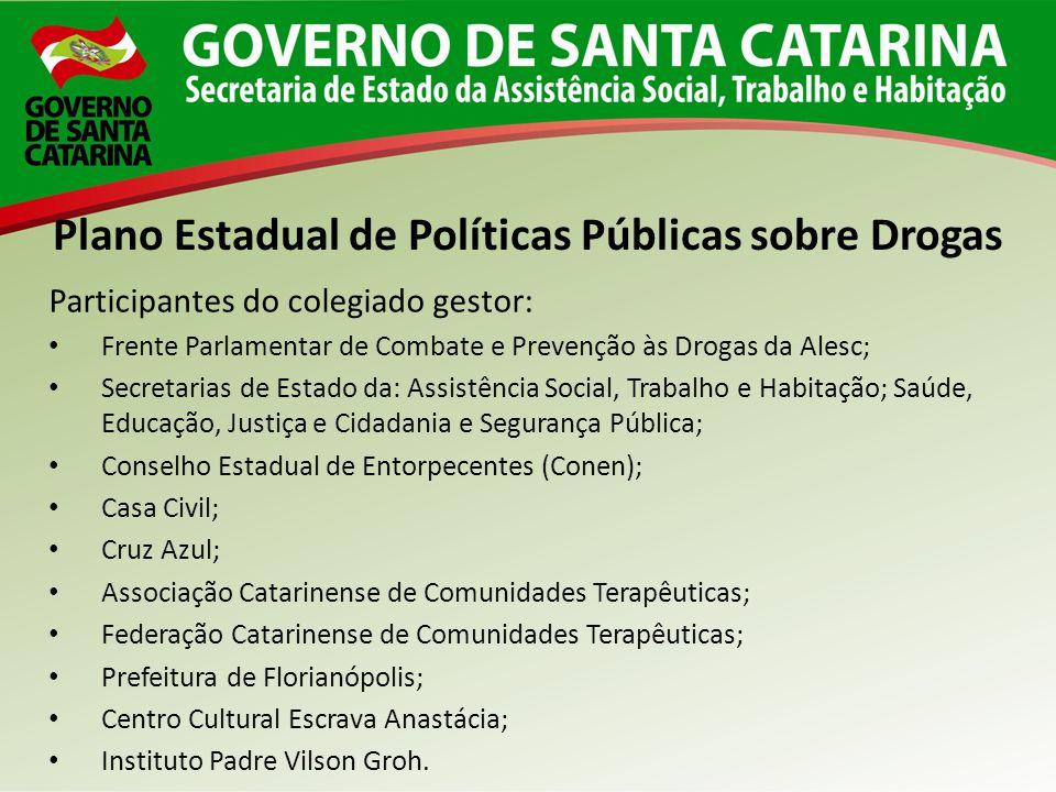 Participantes do colegiado gestor: Frente Parlamentar de Combate e Prevenção às Drogas da Alesc; Secretarias de Estado da: Assistência Social, Trabalh