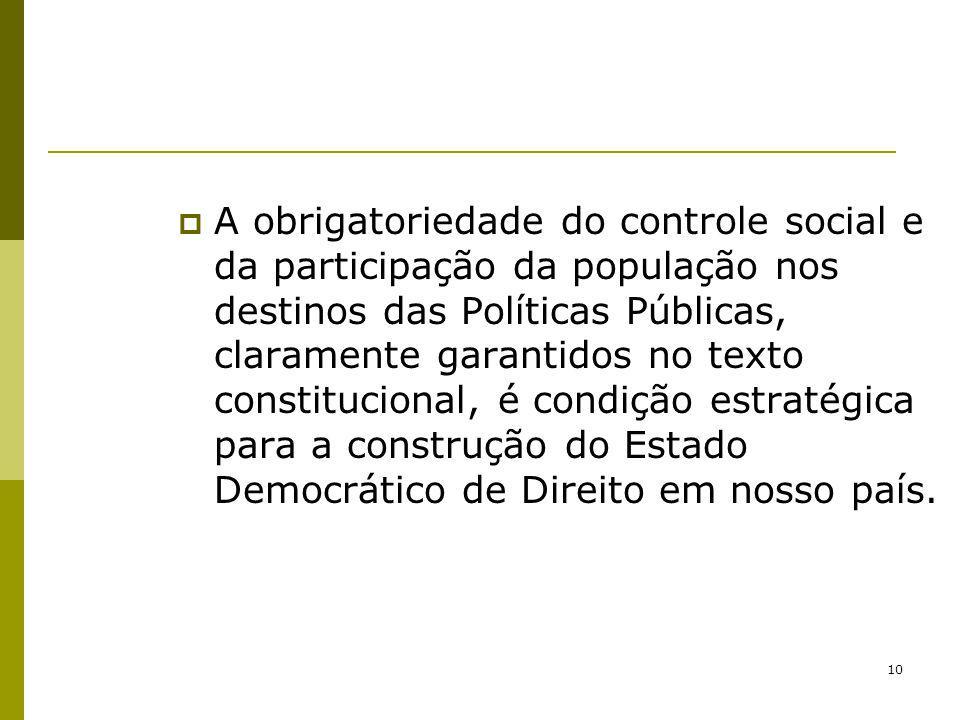 10 A obrigatoriedade do controle social e da participação da população nos destinos das Políticas Públicas, claramente garantidos no texto constitucio