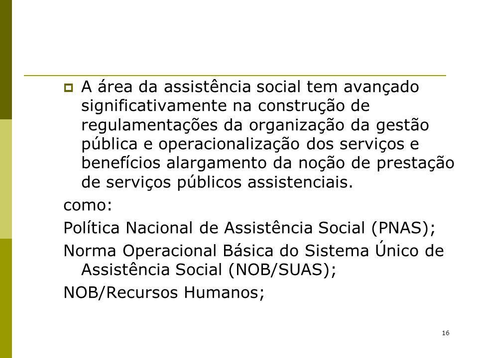 16 A área da assistência social tem avançado significativamente na construção de regulamentações da organização da gestão pública e operacionalização