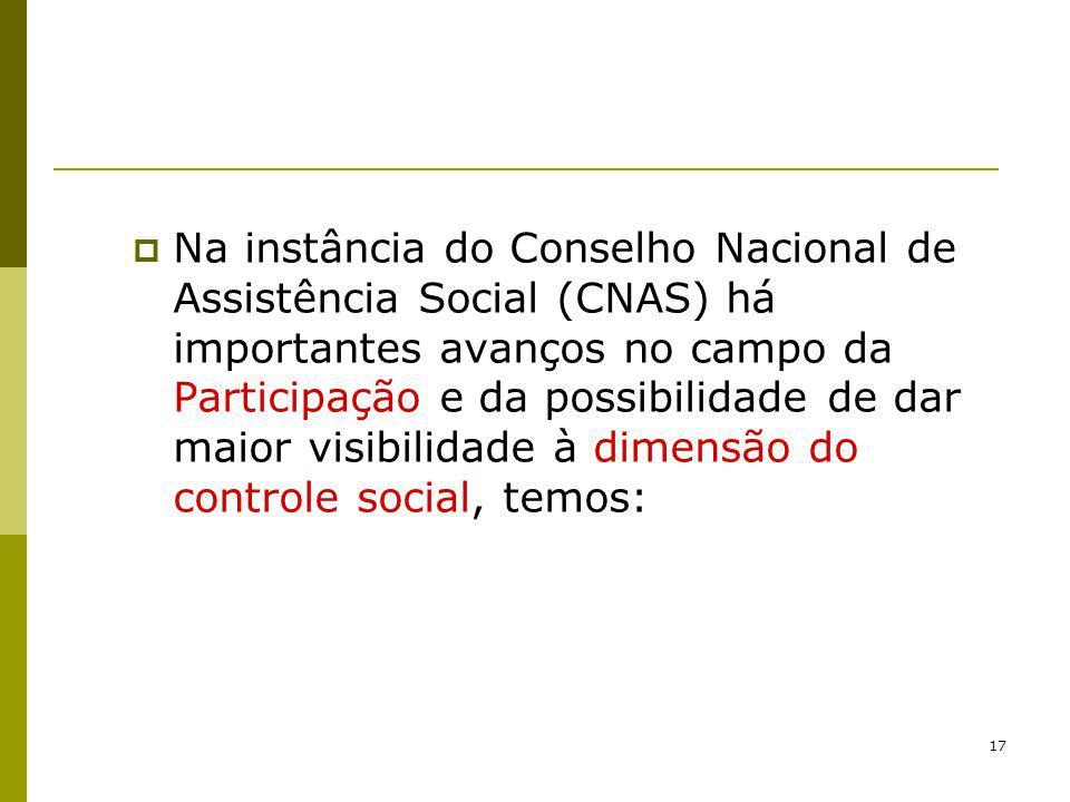 17 Na instância do Conselho Nacional de Assistência Social (CNAS) há importantes avanços no campo da Participação e da possibilidade de dar maior visi