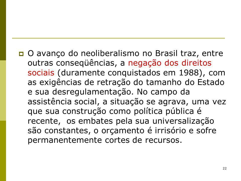 22 O avanço do neoliberalismo no Brasil traz, entre outras conseqüências, a negação dos direitos sociais (duramente conquistados em 1988), com as exig