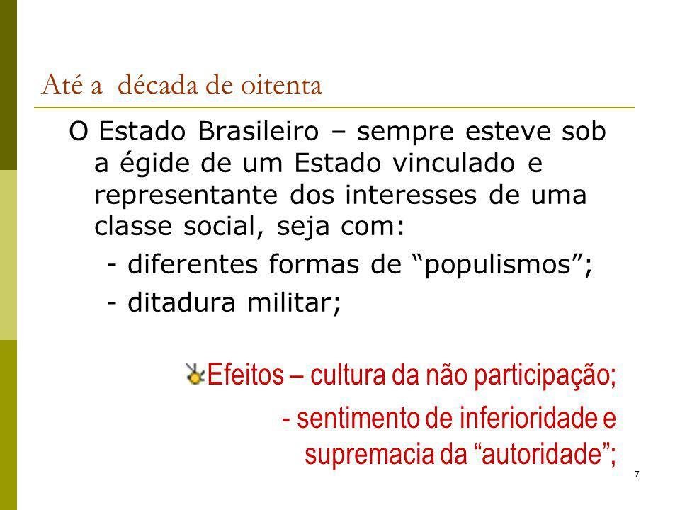 7 Até a década de oitenta O Estado Brasileiro – sempre esteve sob a égide de um Estado vinculado e representante dos interesses de uma classe social,