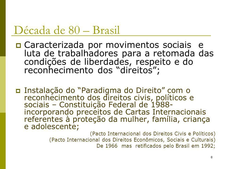 8 Década de 80 – Brasil Caracterizada por movimentos sociais e luta de trabalhadores para a retomada das condições de liberdades, respeito e do reconh