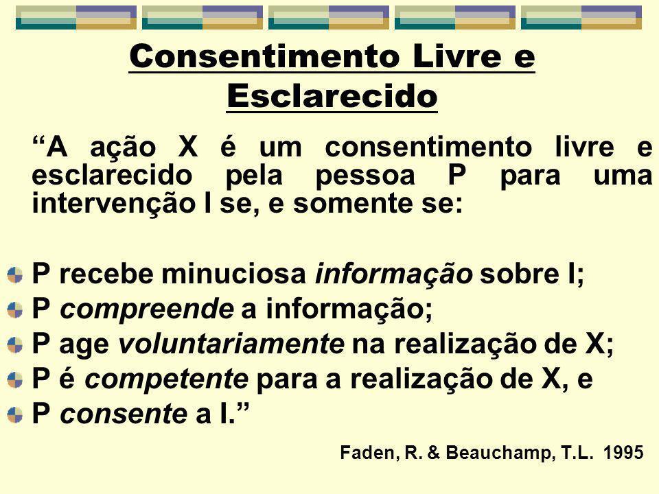 A ação X é um consentimento livre e esclarecido pela pessoa P para uma intervenção I se, e somente se: P recebe minuciosa informação sobre I; P compreende a informação; P age voluntariamente na realização de X; P é competente para a realização de X, e P consente a I.