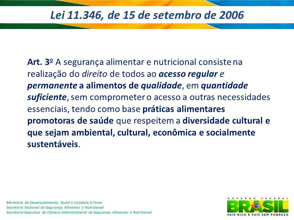 Ministério do Desenvolvimento Social e Combate à Fome Secretaria Nacional de Segurança Alimentar e Nutricional Secretaria-Executiva da Câmara Interministerial de Segurança Alimentar e Nutricional Lei 11.346, de 15 de setembro de 2006 Art.