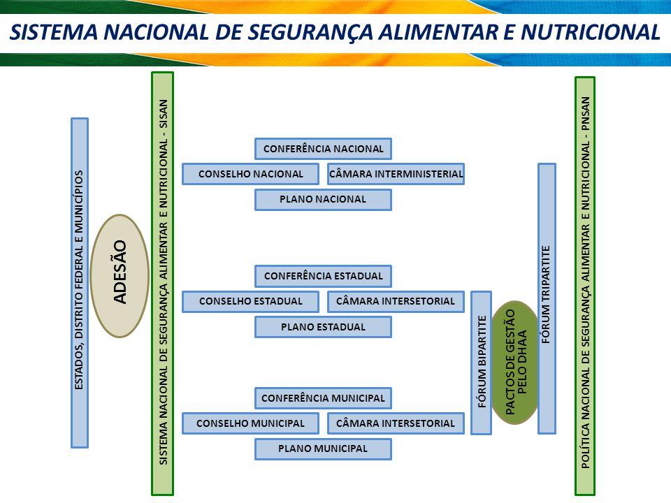 SISTEMA NACIONAL DE SEGURANÇA ALIMENTAR E NUTRICIONAL PACTOS DE GESTÃO PELO DHAA ESTADOS, DISTRITO FEDERAL E MUNICÍPIOS ADESÃO SISTEMA NACIONAL DE SEGURANÇA ALIMENTAR E NUTRICIONAL - SISAN CONFERÊNCIA NACIONAL CONSELHO NACIONALCÂMARA INTERMINISTERIAL PLANO NACIONAL CONFERÊNCIA ESTADUAL CONSELHO ESTADUALCÂMARA INTERSETORIAL PLANO ESTADUAL CONFERÊNCIA MUNICIPAL CONSELHO MUNICIPALCÂMARA INTERSETORIAL PLANO MUNICIPAL FÓRUM BIPARTITE FÓRUM TRIPARTITE POLÍTICA NACIONAL DE SEGURANÇA ALIMENTAR E NUTRICIONAL - PNSAN