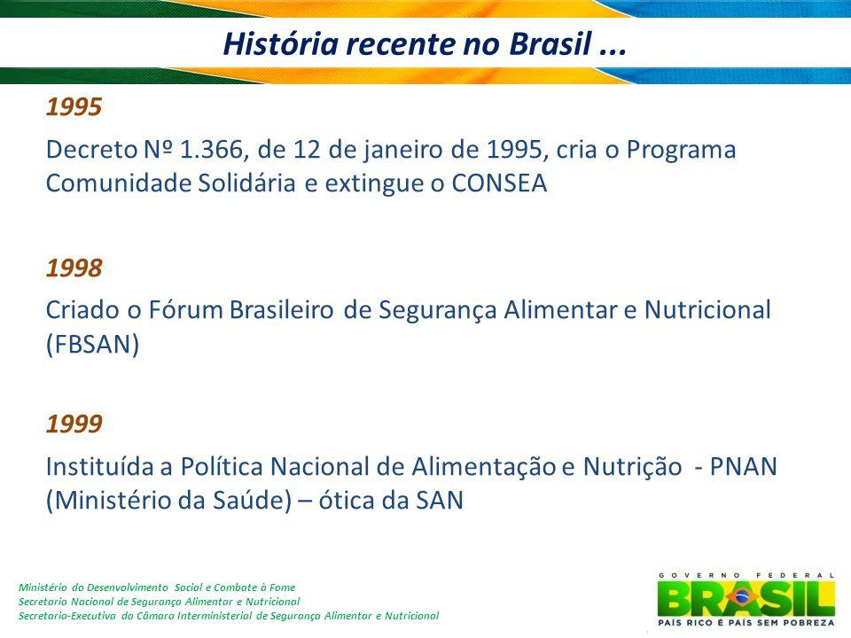 Ministério do Desenvolvimento Social e Combate à Fome Secretaria Nacional de Segurança Alimentar e Nutricional Secretaria-Executiva da Câmara Interministerial de Segurança Alimentar e Nutricional História recente no Brasil...