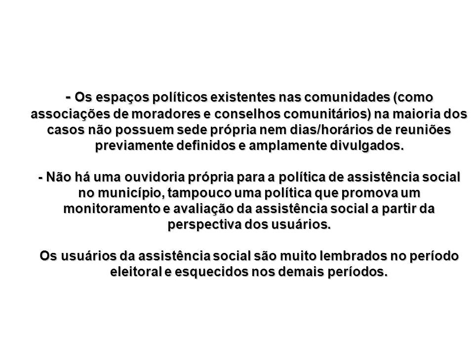 - Os espaços políticos existentes nas comunidades (como associações de moradores e conselhos comunitários) na maioria dos casos não possuem sede própr