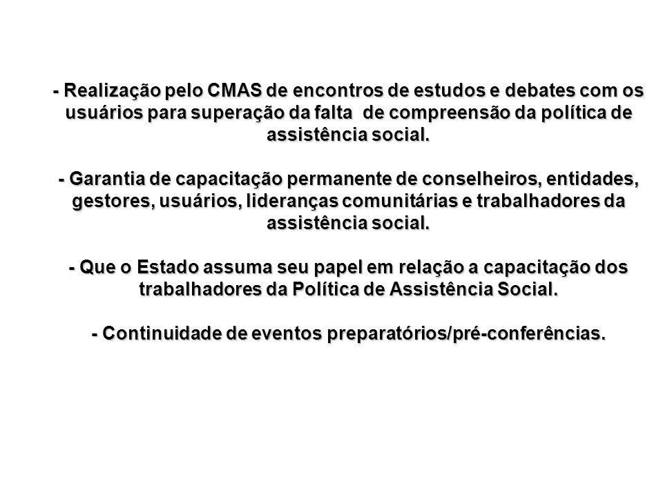 - Realização pelo CMAS de encontros de estudos e debates com os usuários para superação da falta de compreensão da política de assistência social. - G